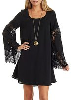 Charlotte Russe Lace Bell Sleeve Shift Dress