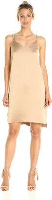 Halston Women's Sleeveless Double Strap Satin Slip Dress