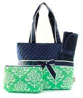 Quilted Bloom Damask 3pc Diaper Bag Set Mint by ngill