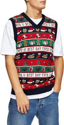 Topman Best Day Ever Holiday Sweater Vest
