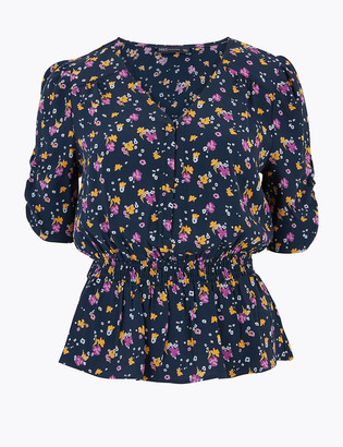 Marks and Spencer Ditsy Floral V-Neck Waisted Blouse