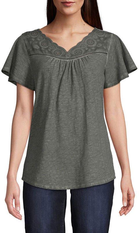 ST. JOHN'S BAY V Neck Short Sleeve T-Shirt - Womens