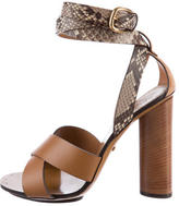 Gucci Leather and Snakeskin Sandals