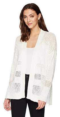 Three Dots Women's mesh Stitch Long Loose Cardigan