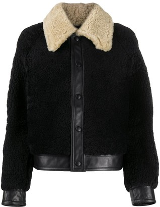 Ami Contrast Collar Shearling Jacket