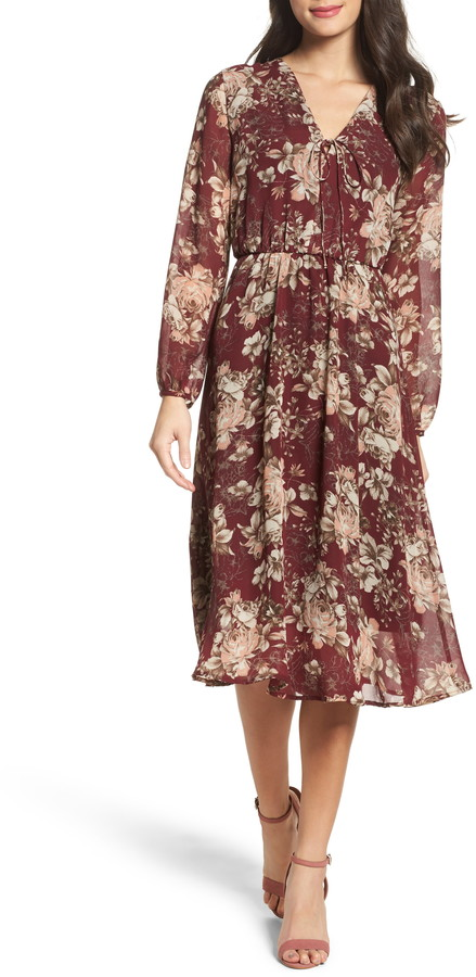 Fraiche by J Deep V-Neck Flower Dress