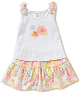 Starting Out Baby Girls Newborn-24 Months Floral Embroidered Top & Printed Skort Set