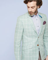 GLADEZ Tight Lines checked linen jacket
