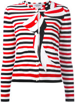 Thom Browne striped bow print cardigan - women - Cotton - 42