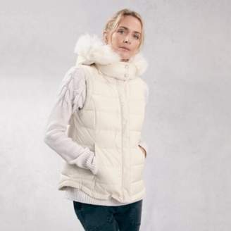 The White Company Faux Fur Hooded Gilet, Buttermilk, 10