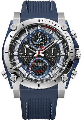 Bulova Men Chronograph Precisionist Blue Rubber Strap Watch 46.5mm