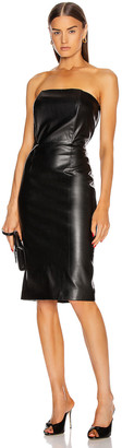 retrofete for FWRD Daniella Faux Leather Midi Dress in Black | FWRD