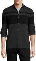 Neiman Marcus Cashmere Colorblock Polo Sweater, Charcoal/Black