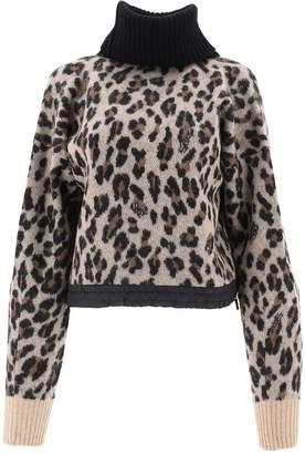 Sacai Leopard Print Turtleneck Sweater