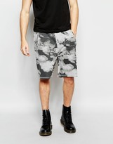 Cheap Monday Sweat Shorts Razor Clouds Print in Gray Melange
