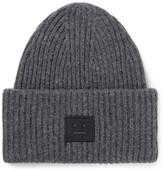 Acne Studios Appliquéd Ribbed Wool-blend Beanie - Charcoal