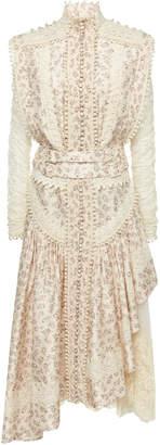 Zimmermann Sabotage Asymmetric Floral-Print Silk Dress