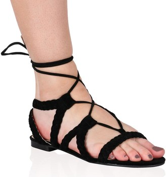 Public Desire Uk Joey Flat Gladiator Sandals Faux Suede
