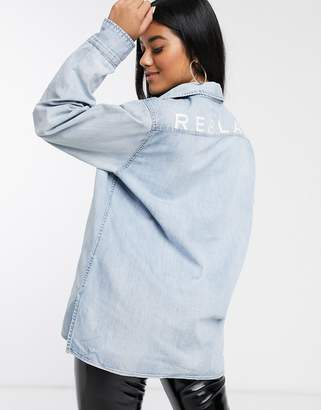 Replay denim shirt with logo print on the back-Blue