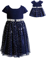 Dollie & Me Navy Sequin Tulle Dress & Doll Dress - Girls