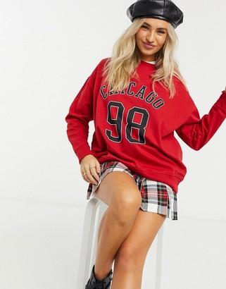 New Look Chicago sweatshirt in bright red