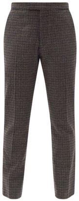 Raf Simons Zip-cuff Check Wool-blend Tailored Trousers - Black Brown