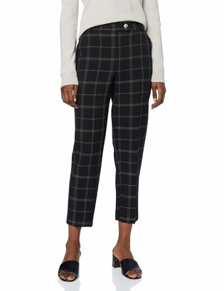 Dorothy Perkins Women's Black Edit Grid Check Ankle Grazer Trousers Work Utility Pants 18