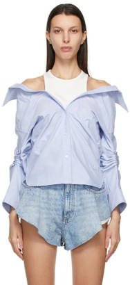 alexanderwang.t Blue Off-Shoulder Shirt