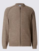 Marks and Spencer Cotton Rich Zip Through Textured Cardigan