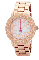 Betsey Johnson Women&s Bling Mother of Pearl Dial Bracelet Watch