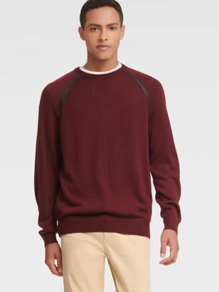 DKNY Men's Leather Trim Crewneck Sweater - Wine - Size XL
