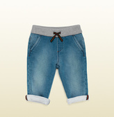 Gucci Baby Blue Denim Jogging Pant With Knit Detail