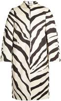 Lanvin Zebra-print collarless cotton-blend coat