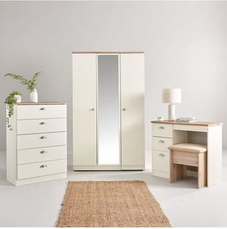 Swift Charlotte 4 Piece PartAssembled Package - 3 Door Mirrored Wardrobe, 5 Drawer Chest and 2 Bedside Chests