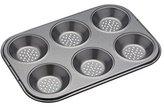 Kitchen Craft MasterClass Six Hole Crusty Bake Baking Pan, Black