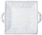 Vietri Incanto White Stripe Handled Platter