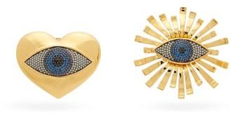 BEGÜM KHAN All Hearts On Eye 24kt Gold-plated Clip Earrings - Gold Multi