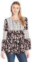 NY Collection Women's Twin Printed Long Pesant Sleeve Lace up Top