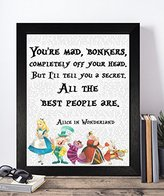 Presents Gifts For Teens Kids Boys Girls Alice In Wonderland Lovers Fans Birthday Christmas Xmas You'Re Mad Bonkers Completely Off Your Head Prints Posters Wall Art Home Decorations