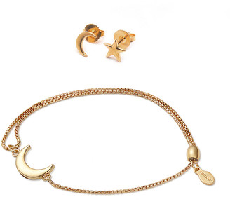 Alex and Ani Moon and Star Bracelet and Earring Set