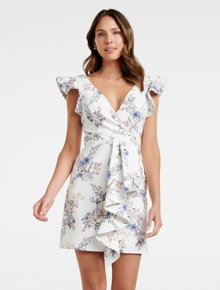 Forever New Winnie Frill A-line Mini Dress - Bluebell Floral - 10