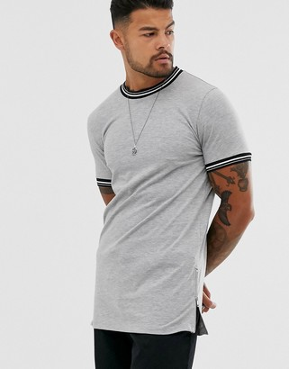 ASOS DESIGN skinny longline t-shirt with tipping and side zips in gray marl