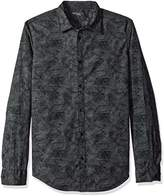 Calvin Klein Jeans Men's Tonal Botanical Camo Print Long Sleeve Button Down Shirt