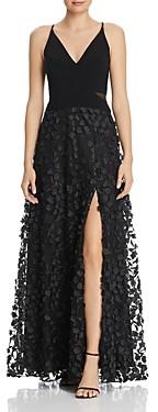 Aqua Floral Applique Gown - 100% Exclusive