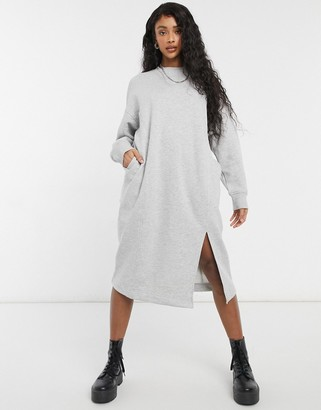 Monki Coba organic cotton knitted midi dress in grey