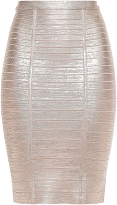 Herve Leger Kaitlin Metallic Bandage Pencil Skirt
