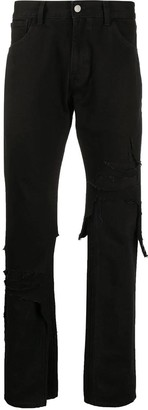 Layered Distressed Denim Jeans Black