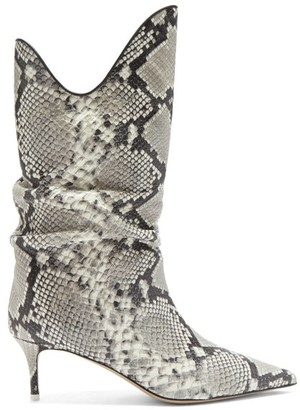 ATTICO Kitten-heel Snake-effect Leather Boots - Python