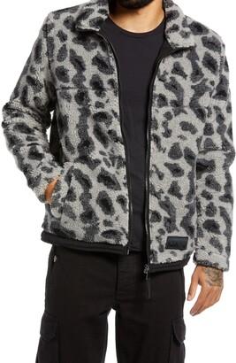 Topman Men's Animal Print Faux Shearling Borg Jacket
