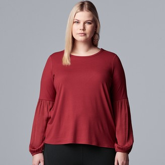 Plus Size Simply Vera Vera Wang Bell Sleeve Blouse